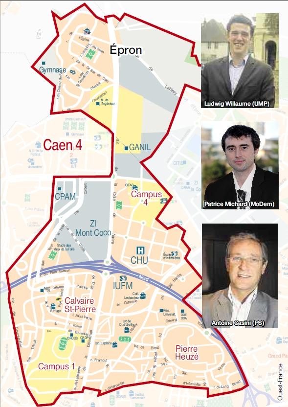 Caen 4 : Epron, Calvaire-Saint-Pierre, Pierre-Heuzé avec Ludwig Willaume (UMP), Patrice Michard (MoDem) et Antoine Casini (PS)